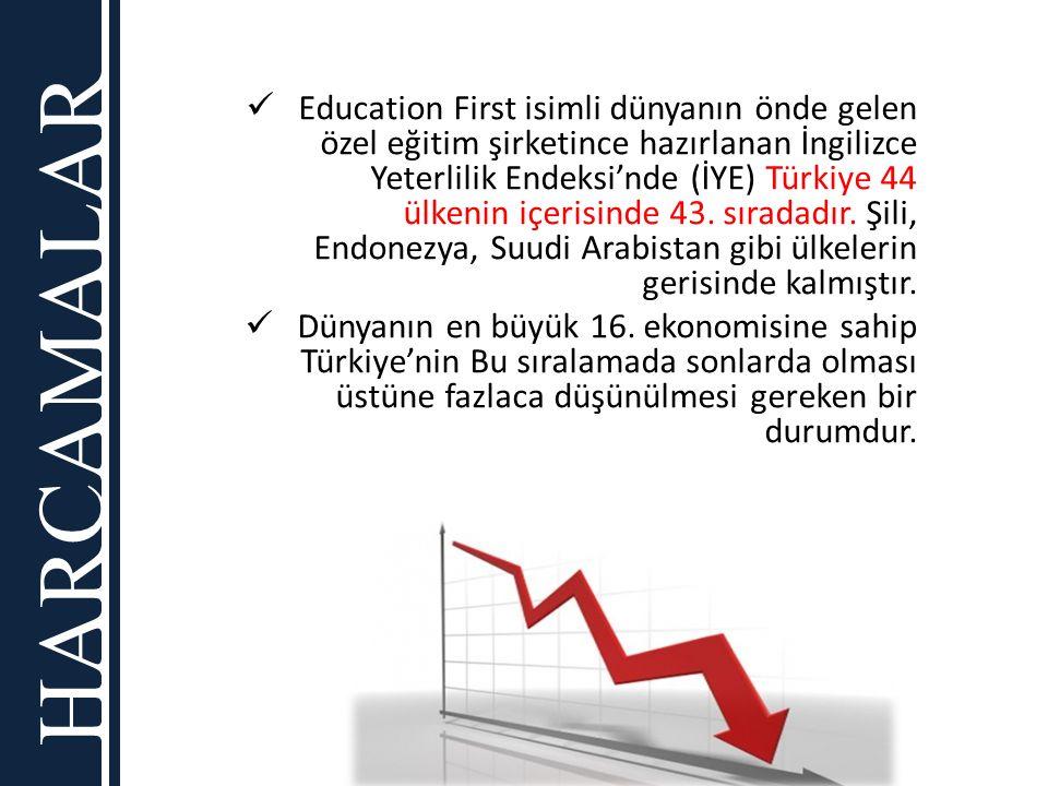Education First isimli dünyanın önde gelen özel eğitim şirketince hazırlanan İngilizce Yeterlilik Endeksi'nde (İYE) Türkiye 44 ülkenin içerisinde 43. sıradadır. Şili, Endonezya, Suudi Arabistan gibi ülkelerin gerisinde kalmıştır.