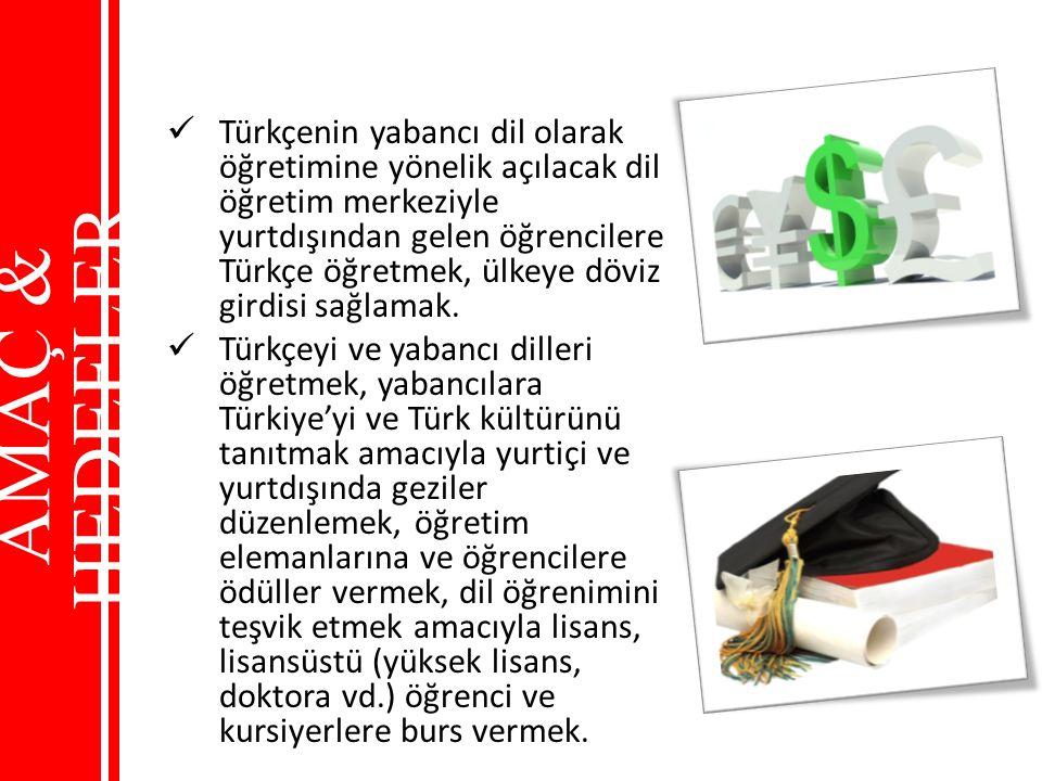 Türkçenin yabancı dil olarak öğretimine yönelik açılacak dil öğretim merkeziyle yurtdışından gelen öğrencilere Türkçe öğretmek, ülkeye döviz girdisi sağlamak.