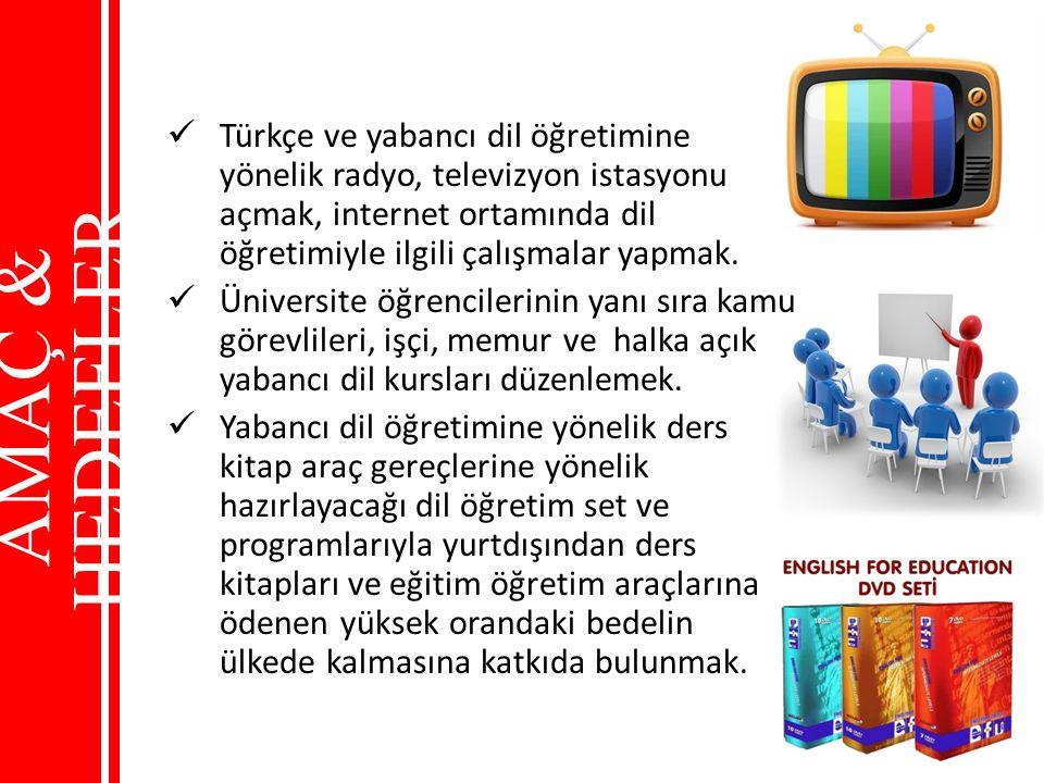 Türkçe ve yabancı dil öğretimine yönelik radyo, televizyon istasyonu açmak, internet ortamında dil öğretimiyle ilgili çalışmalar yapmak.