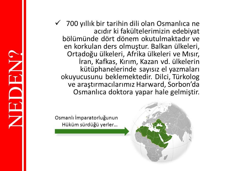 700 yıllık bir tarihin dili olan Osmanlıca ne acıdır ki fakültelerimizin edebiyat bölümünde dört dönem okutulmaktadır ve en korkulan ders olmuştur. Balkan ülkeleri, Ortadoğu ülkeleri, Afrika ülkeleri ve Mısır, İran, Kafkas, Kırım, Kazan vd. ülkelerin kütüphanelerinde sayısız el yazmaları okuyucusunu beklemektedir. Dilci, Türkolog ve araştırmacılarımız Harward, Sorbon'da Osmanlıca doktora yapar hale gelmiştir.