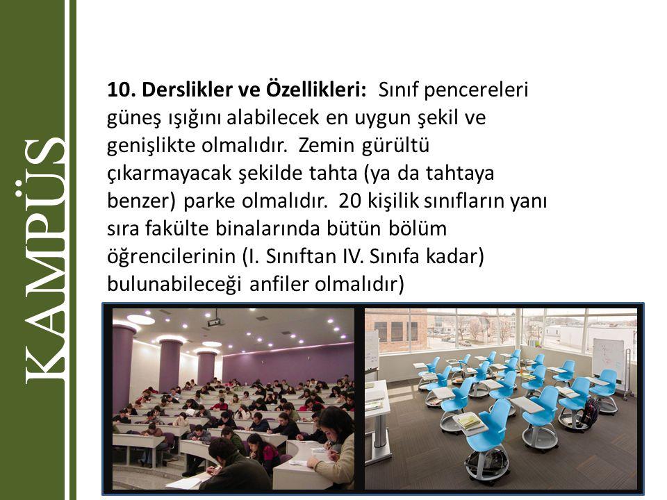 10. Derslikler ve Özellikleri: Sınıf pencereleri güneş ışığını alabilecek en uygun şekil ve genişlikte olmalıdır. Zemin gürültü çıkarmayacak şekilde tahta (ya da tahtaya benzer) parke olmalıdır. 20 kişilik sınıfların yanı sıra fakülte binalarında bütün bölüm öğrencilerinin (I. Sınıftan IV. Sınıfa kadar) bulunabileceği anfiler olmalıdır)