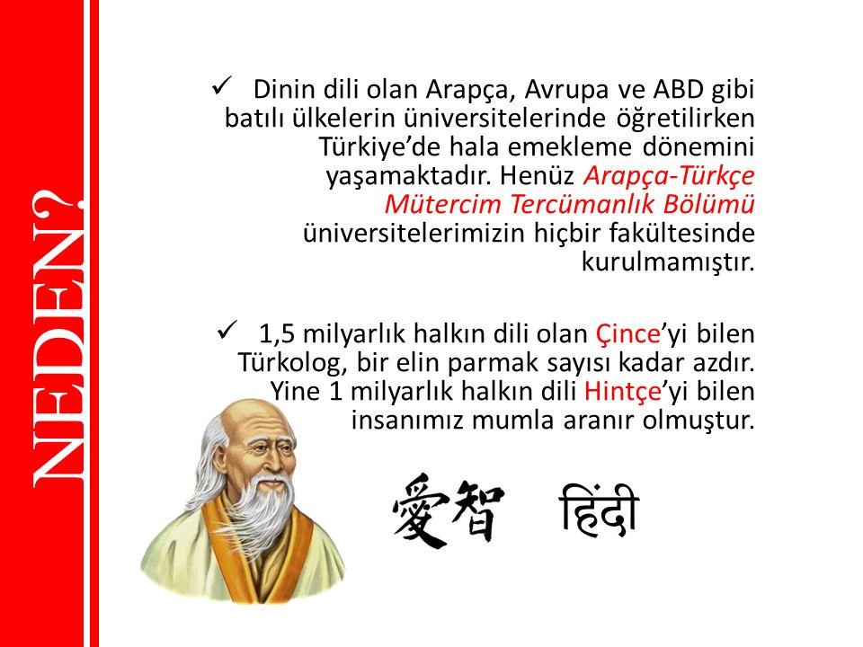 Dinin dili olan Arapça, Avrupa ve ABD gibi batılı ülkelerin üniversitelerinde öğretilirken Türkiye'de hala emekleme dönemini yaşamaktadır. Henüz Arapça-Türkçe Mütercim Tercümanlık Bölümü üniversitelerimizin hiçbir fakültesinde kurulmamıştır.