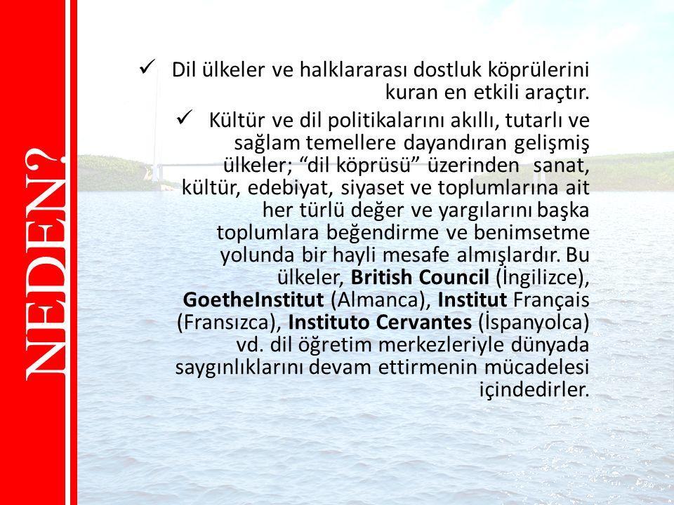 Dil ülkeler ve halklararası dostluk köprülerini kuran en etkili araçtır.
