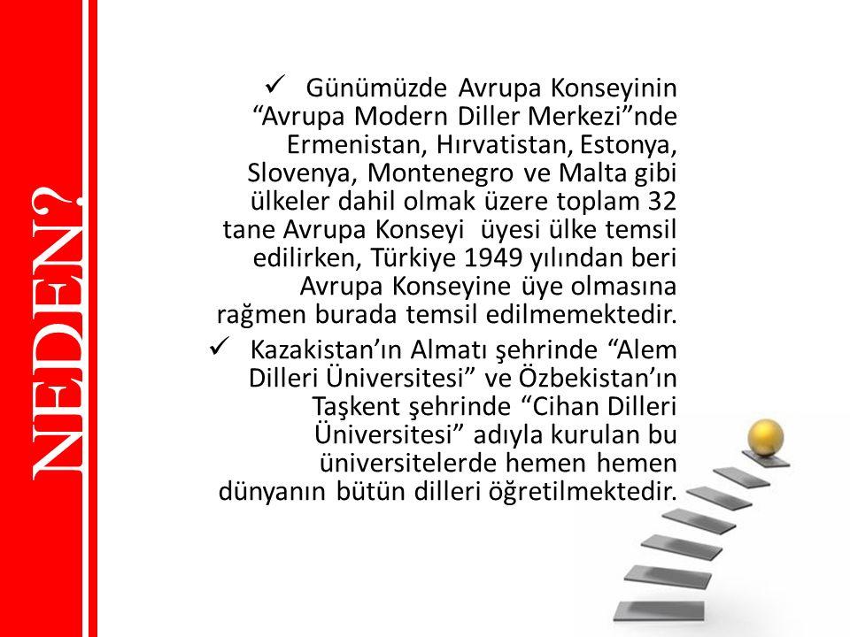 Günümüzde Avrupa Konseyinin Avrupa Modern Diller Merkezi nde Ermenistan, Hırvatistan, Estonya, Slovenya, Montenegro ve Malta gibi ülkeler dahil olmak üzere toplam 32 tane Avrupa Konseyi üyesi ülke temsil edilirken, Türkiye 1949 yılından beri Avrupa Konseyine üye olmasına rağmen burada temsil edilmemektedir.