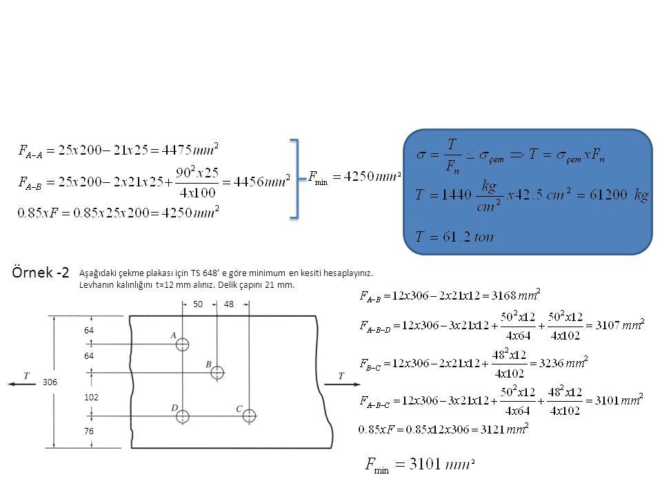 Örnek -2 Aşağıdaki çekme plakası için TS 648' e göre minimum en kesiti hesaplayınız. Levhanın kalınlığını t=12 mm alınız. Delik çapını 21 mm.