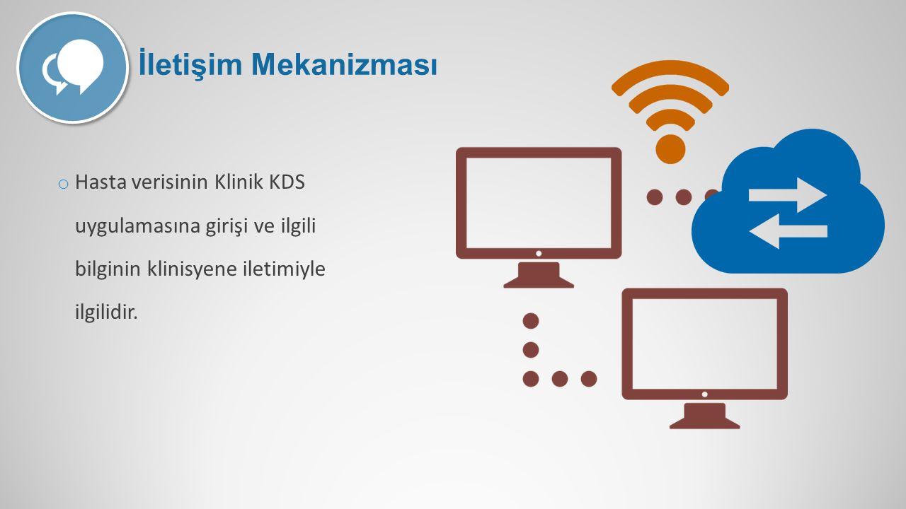 İletişim Mekanizması Hasta verisinin Klinik KDS uygulamasına girişi ve ilgili bilginin klinisyene iletimiyle ilgilidir.