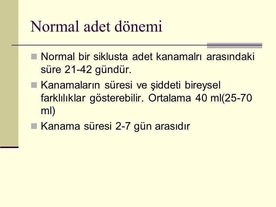 Normal adet dönemi Normal bir siklusta adet kanamalrı arasındaki süre 21-42 gündür.