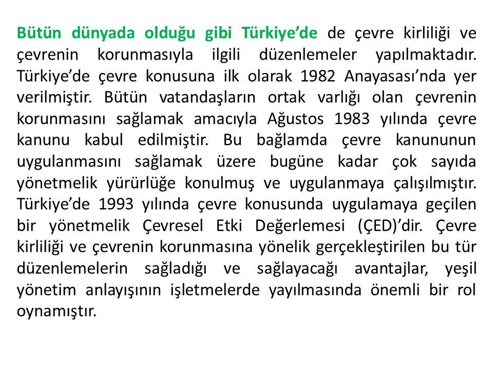 Bütün dünyada olduğu gibi Türkiye'de de çevre kirliliği ve çevrenin korunmasıyla ilgili düzenlemeler yapılmaktadır.