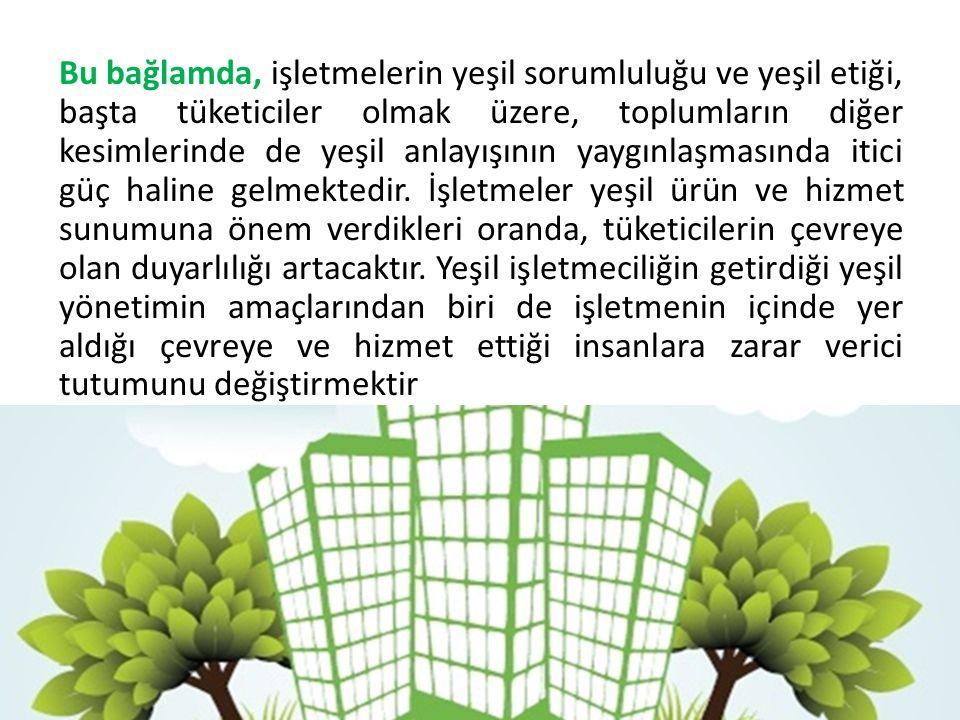 Bu bağlamda, işletmelerin yeşil sorumluluğu ve yeşil etiği, başta tüketiciler olmak üzere, toplumların diğer kesimlerinde de yeşil anlayışının yaygınlaşmasında itici güç haline gelmektedir.