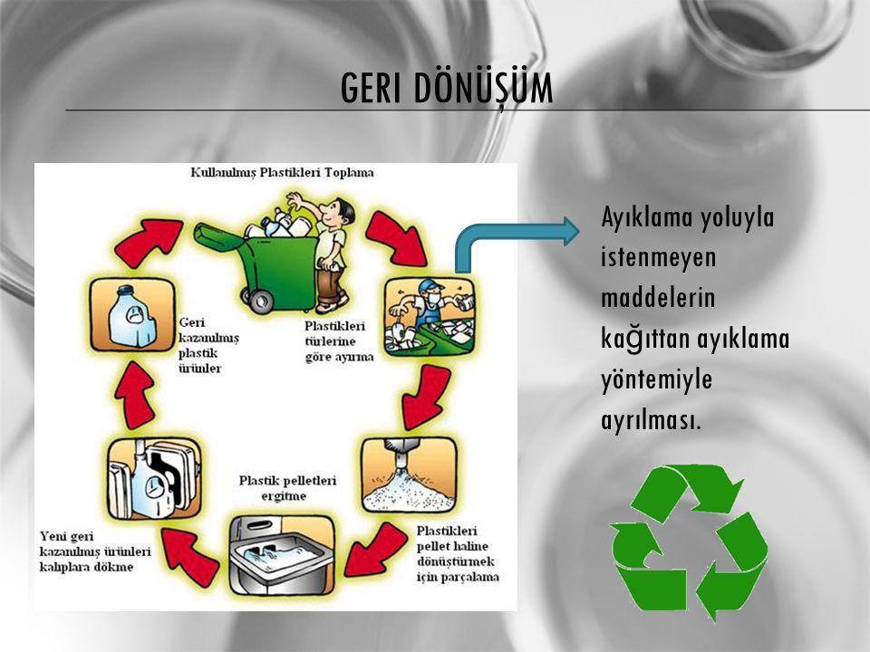 Geri dönüşüm Ayıklama yoluyla istenmeyen maddelerin kağıttan ayıklama yöntemiyle ayrılması.