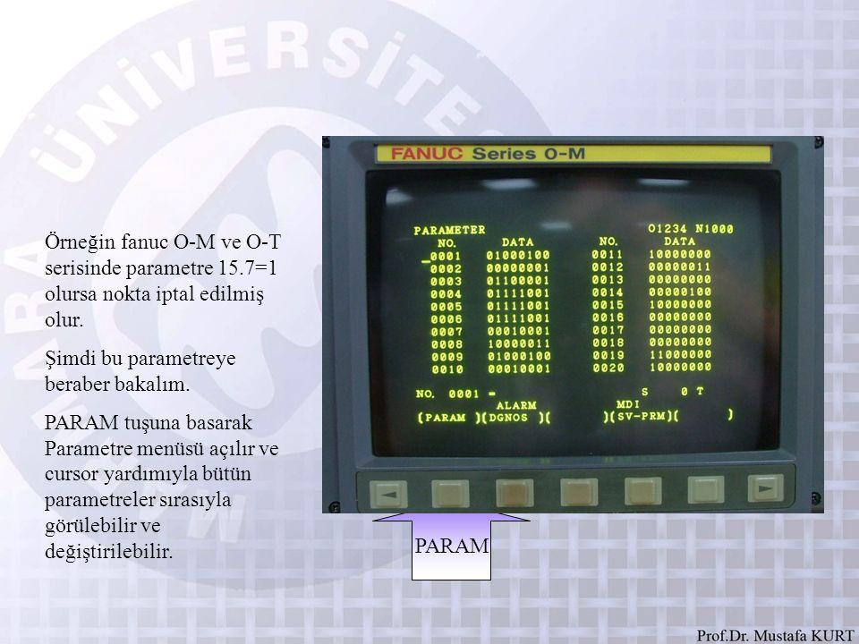 Örneğin fanuc O-M ve O-T serisinde parametre 15