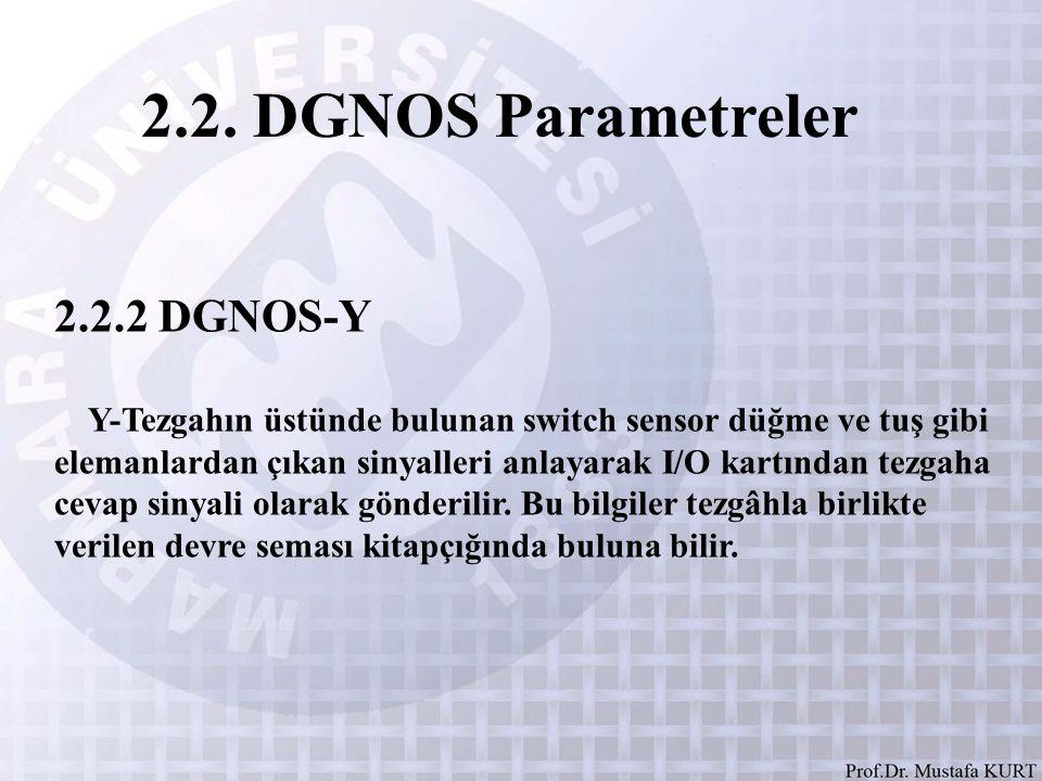 2.2. DGNOS Parametreler 2.2.2 DGNOS-Y