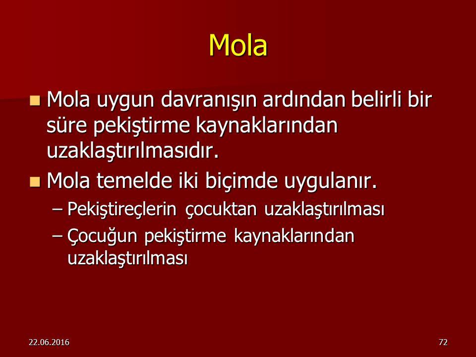 Mola Mola uygun davranışın ardından belirli bir süre pekiştirme kaynaklarından uzaklaştırılmasıdır.