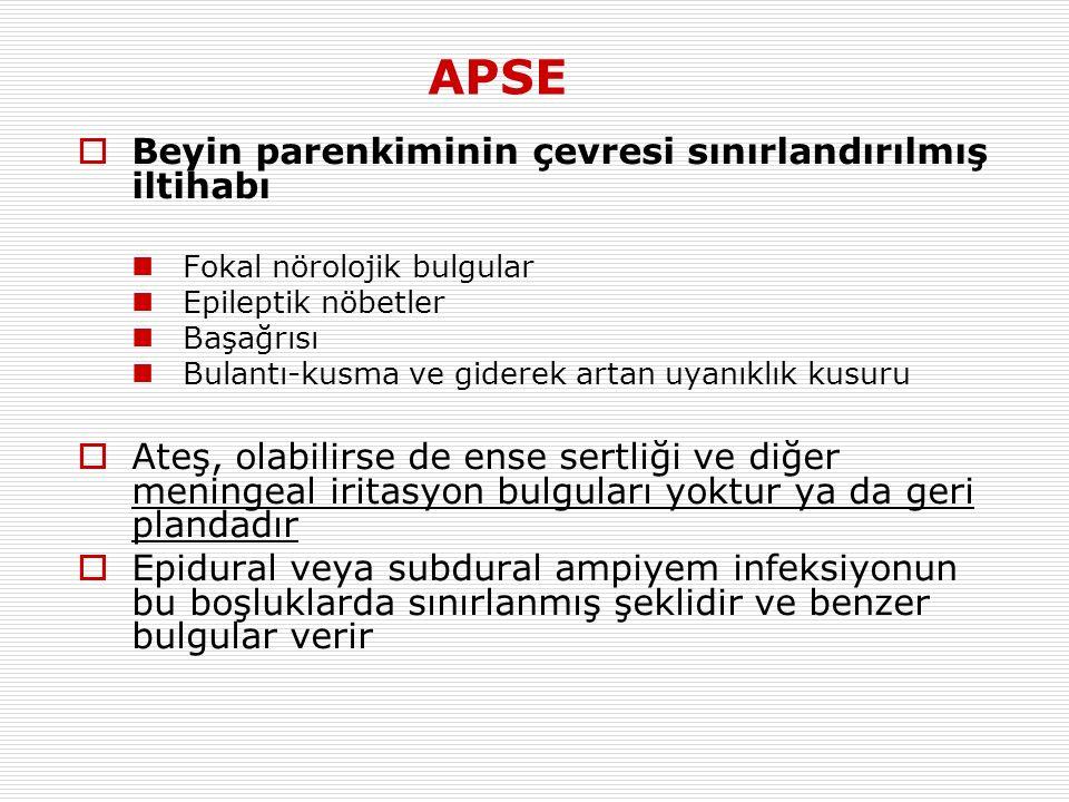 APSE Beyin parenkiminin çevresi sınırlandırılmış iltihabı