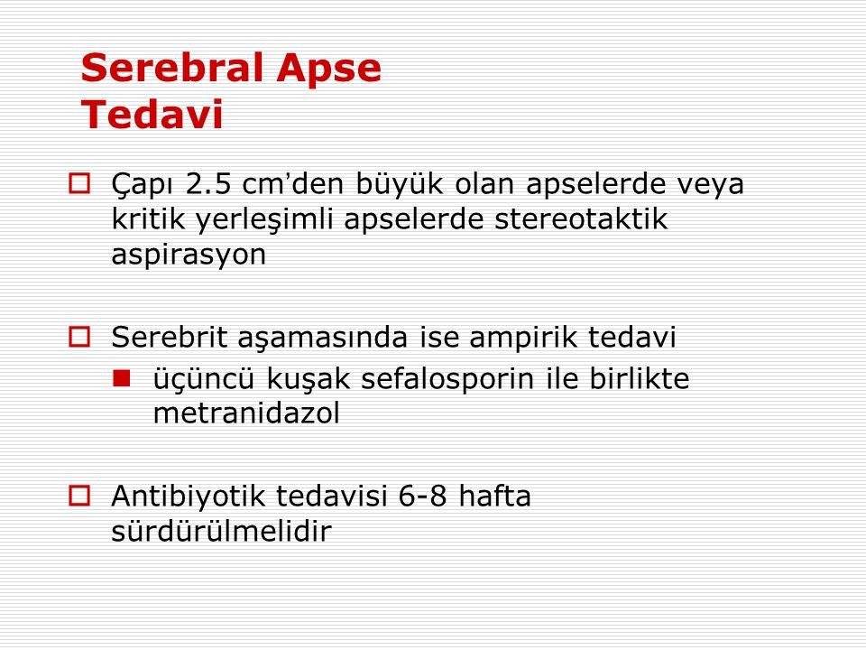 Serebral Apse Tedavi Çapı 2.5 cm'den büyük olan apselerde veya kritik yerleşimli apselerde stereotaktik aspirasyon.