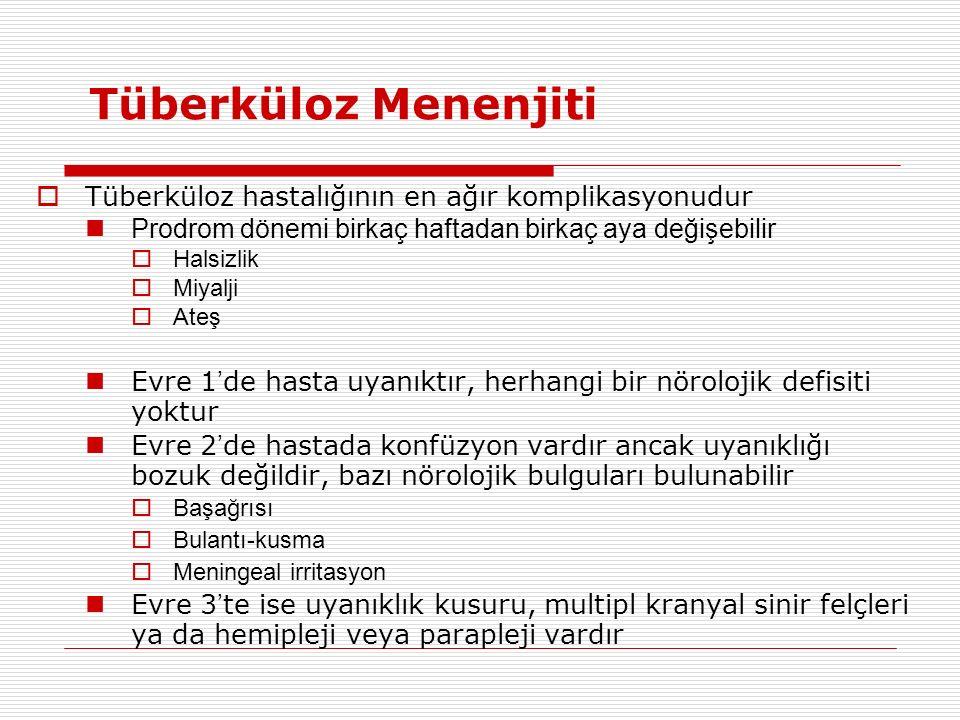 Tüberküloz Menenjiti Tüberküloz hastalığının en ağır komplikasyonudur
