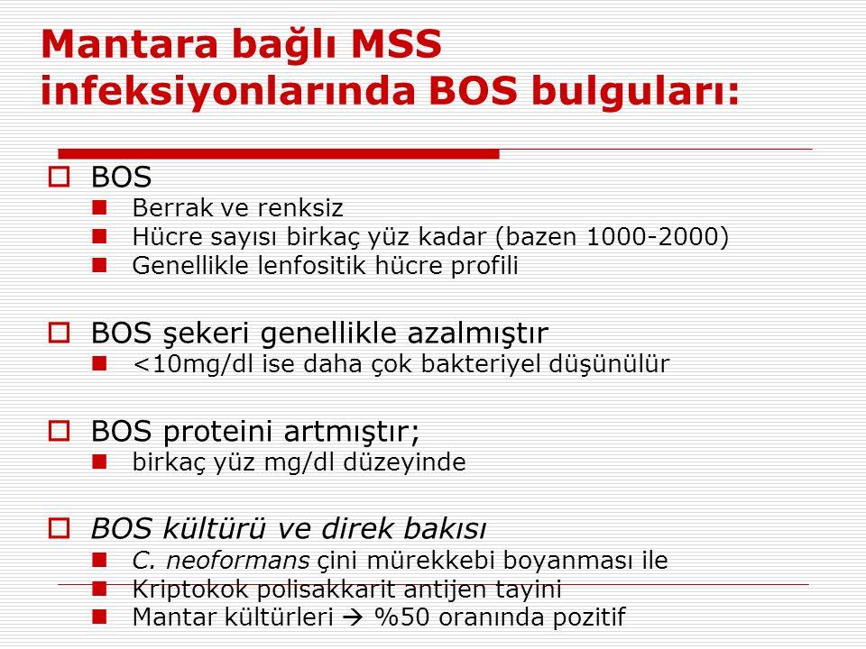 Mantara bağlı MSS infeksiyonlarında BOS bulguları: