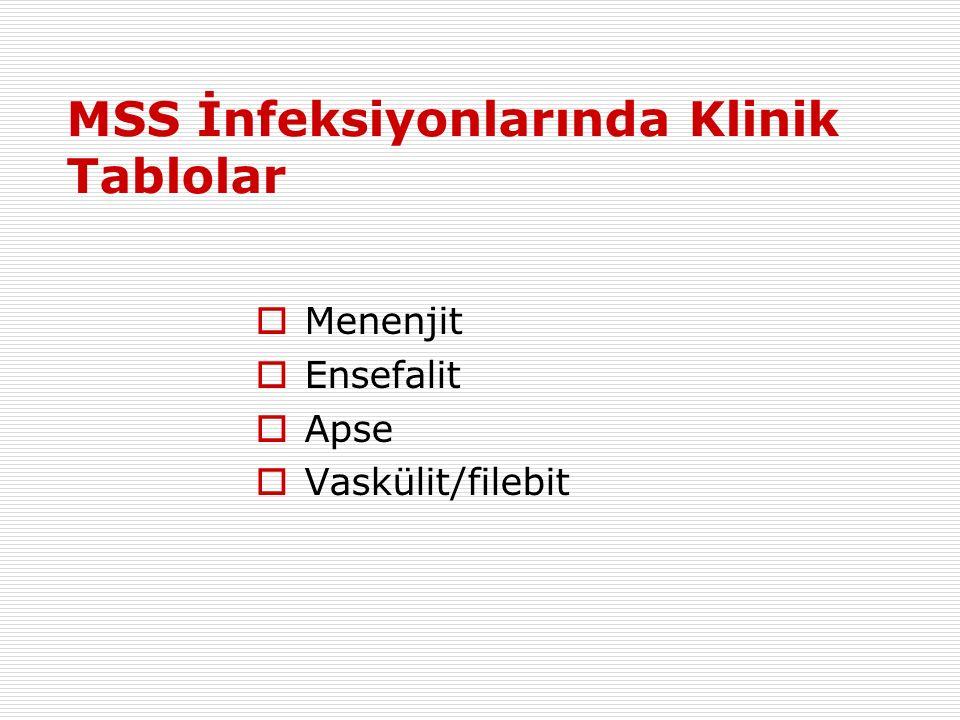 MSS İnfeksiyonlarında Klinik Tablolar