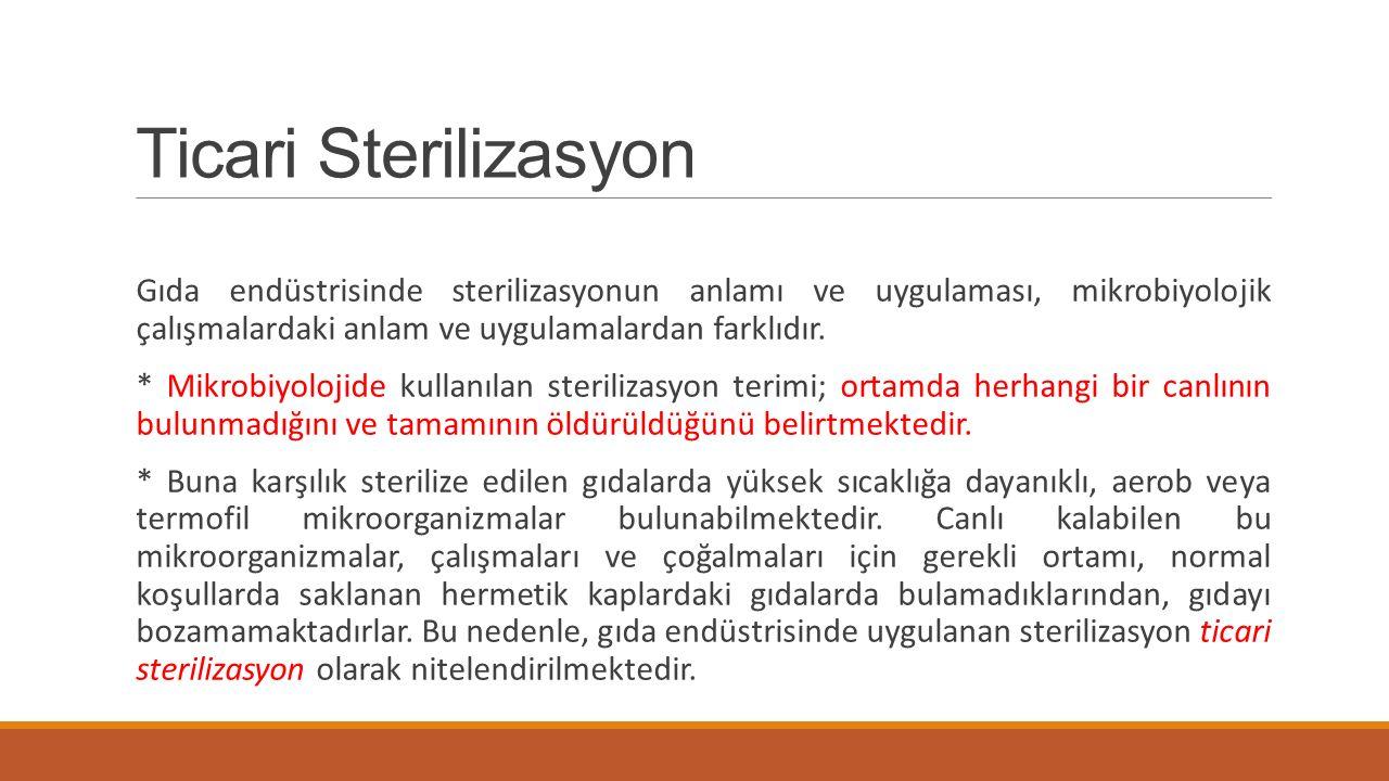 Ticari Sterilizasyon Gıda endüstrisinde sterilizasyonun anlamı ve uygulaması, mikrobiyolojik çalışmalardaki anlam ve uygulamalardan farklıdır.