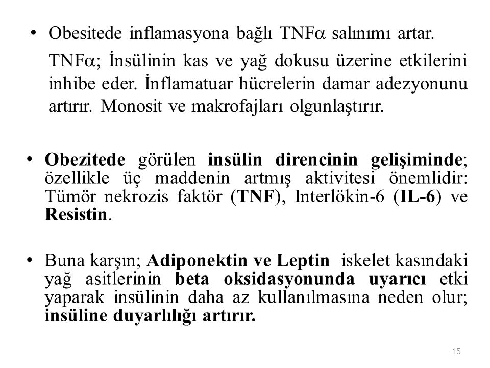 Obesitede inflamasyona bağlı TNF salınımı artar.