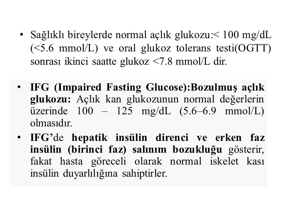 Sağlıklı bireylerde normal açlık glukozu:< 100 mg/dL (<5