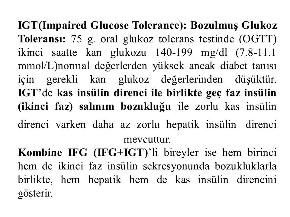 IGT(Impaired Glucose Tolerance): Bozulmuş Glukoz Toleransı: 75 g