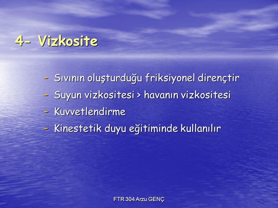 4- Vizkosite Sıvının oluşturduğu friksiyonel dirençtir