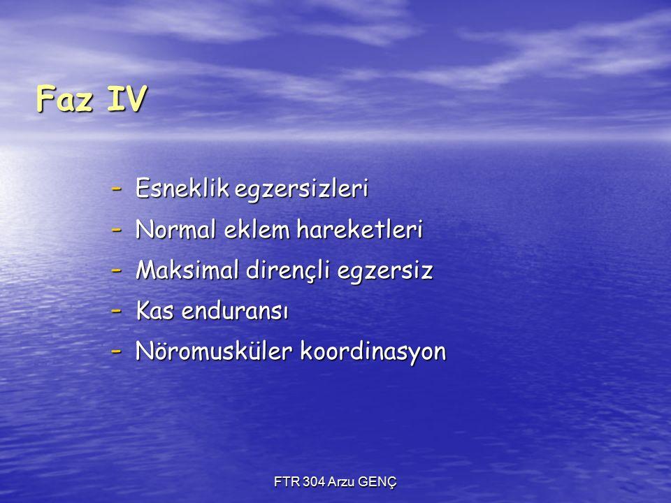 Faz IV Esneklik egzersizleri Normal eklem hareketleri