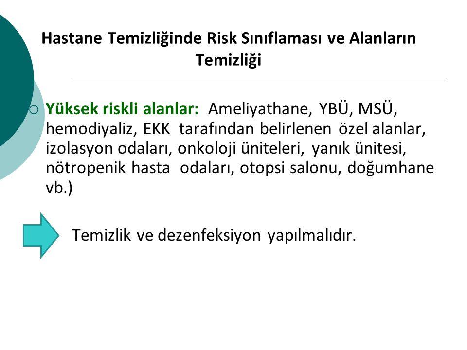 Hastane Temizliğinde Risk Sınıflaması ve Alanların Temizliği
