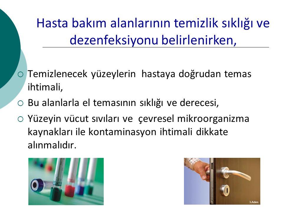 Hasta bakım alanlarının temizlik sıklığı ve dezenfeksiyonu belirlenirken,