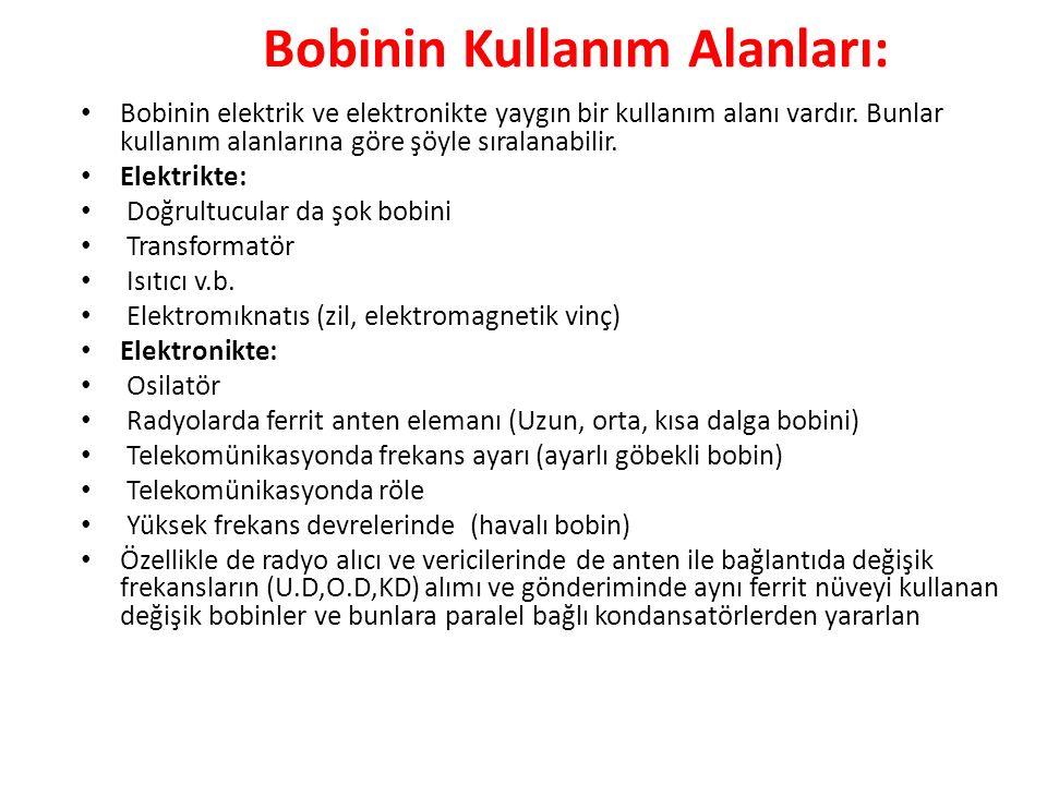 Bobinin Kullanım Alanları:
