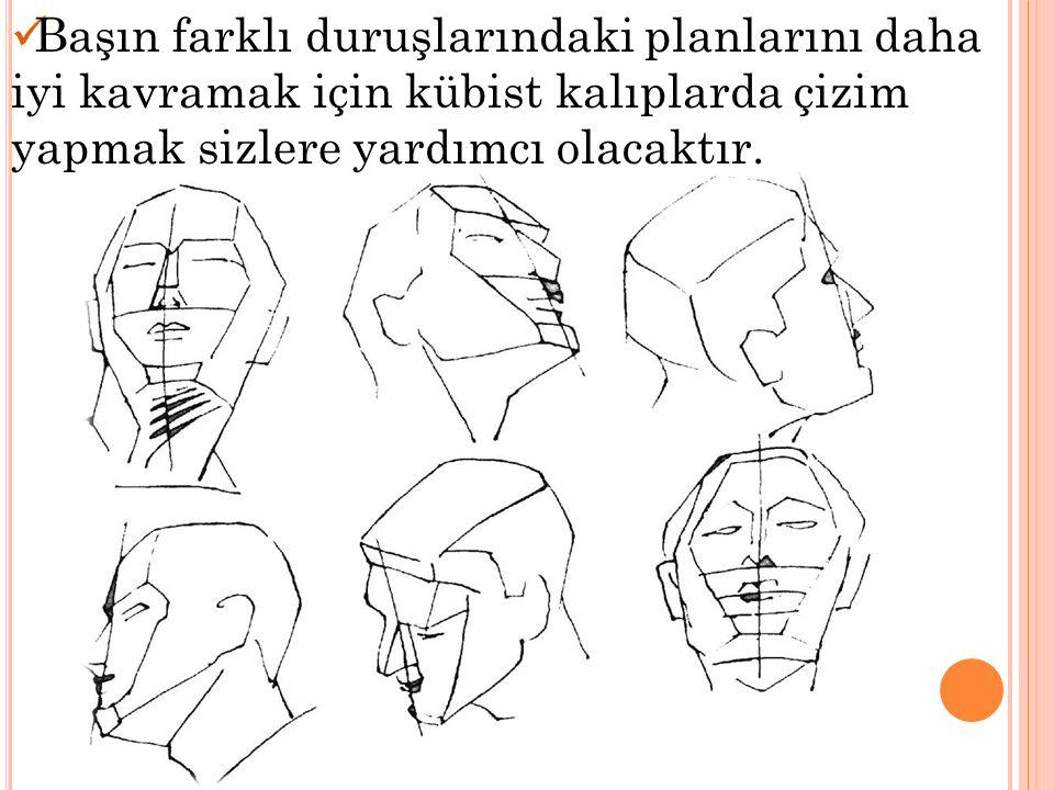 Başın farklı duruşlarındaki planlarını daha iyi kavramak için kübist kalıplarda çizim yapmak sizlere yardımcı olacaktır.