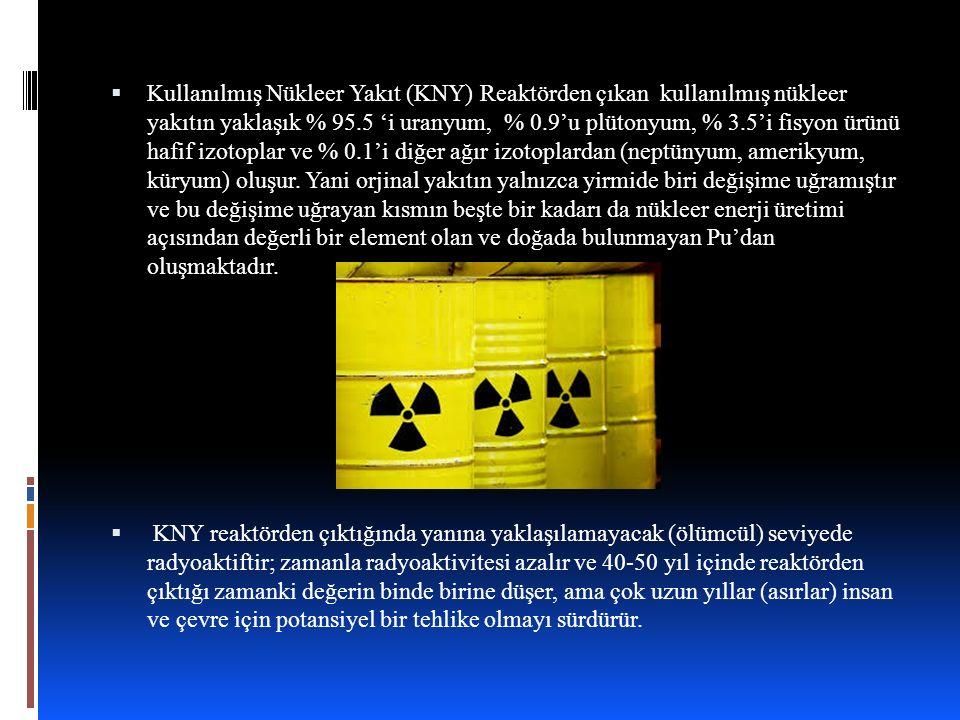Kullanılmış Nükleer Yakıt (KNY) Reaktörden çıkan kullanılmış nükleer yakıtın yaklaşık % 95.5 'i uranyum, % 0.9'u plütonyum, % 3.5'i fisyon ürünü hafif izotoplar ve % 0.1'i diğer ağır izotoplardan (neptünyum, amerikyum, küryum) oluşur. Yani orjinal yakıtın yalnızca yirmide biri değişime uğramıştır ve bu değişime uğrayan kısmın beşte bir kadarı da nükleer enerji üretimi açısından değerli bir element olan ve doğada bulunmayan Pu'dan oluşmaktadır.