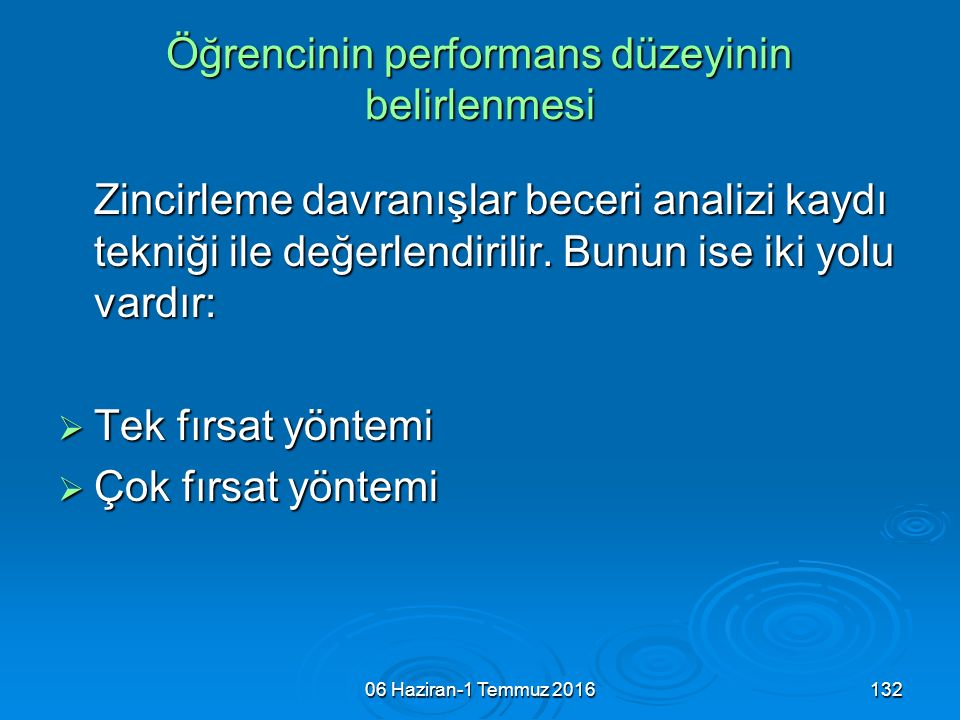 Öğrencinin performans düzeyinin belirlenmesi
