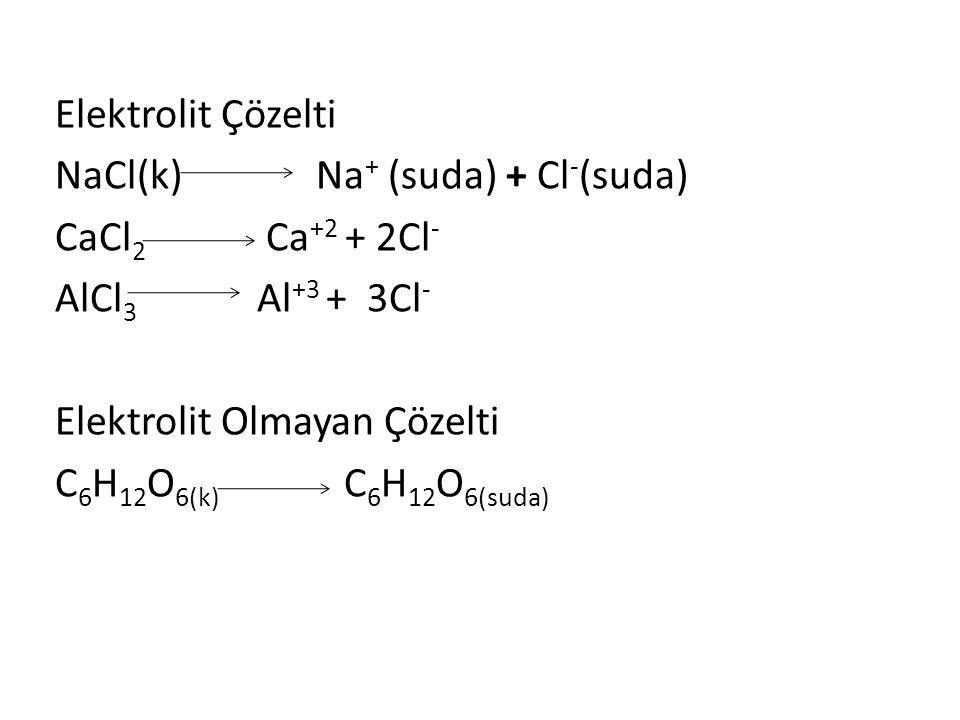 Elektrolit Çözelti NaCl(k) Na+ (suda) + Cl-(suda) CaCl2 Ca+2 + 2Cl- AlCl3 Al+3 + 3Cl-
