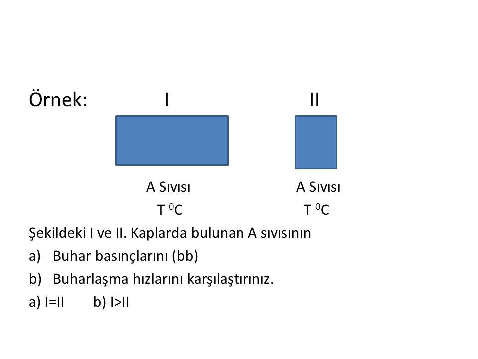 Örnek: I II A Sıvısı A Sıvısı T 0C T 0C