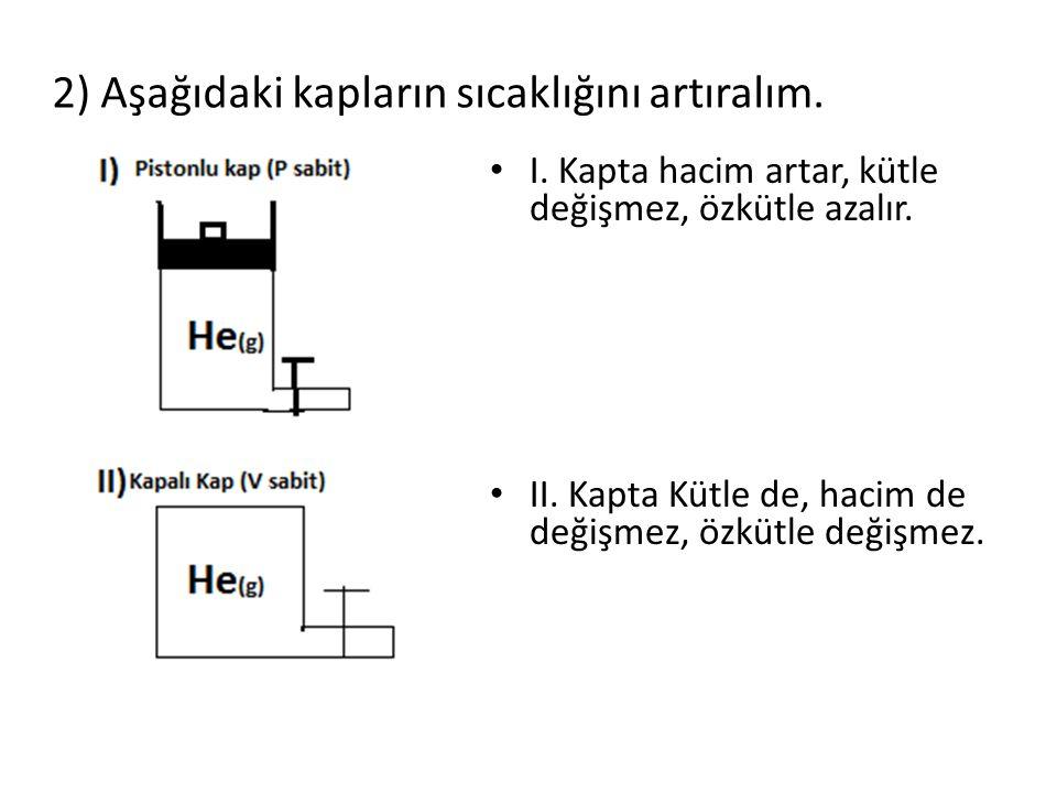 2) Aşağıdaki kapların sıcaklığını artıralım.