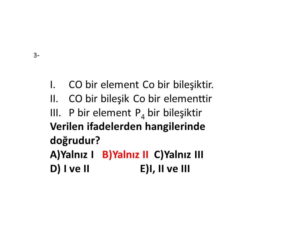 CO bir element Co bir bileşiktir. CO bir bileşik Co bir elementtir
