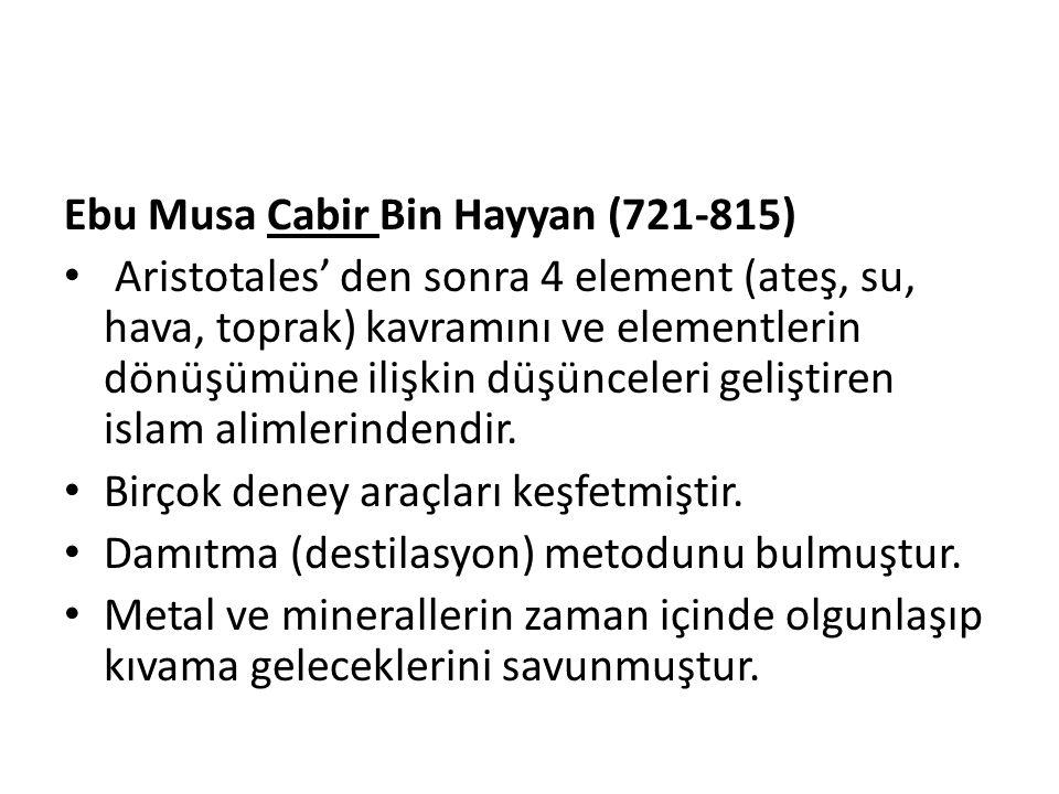 Ebu Musa Cabir Bin Hayyan (721-815)