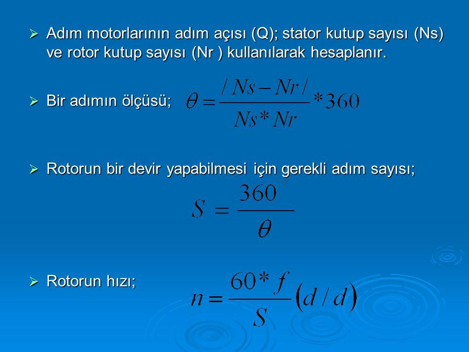 Adım motorlarının adım açısı (Q); stator kutup sayısı (Ns) ve rotor kutup sayısı (Nr ) kullanılarak hesaplanır.