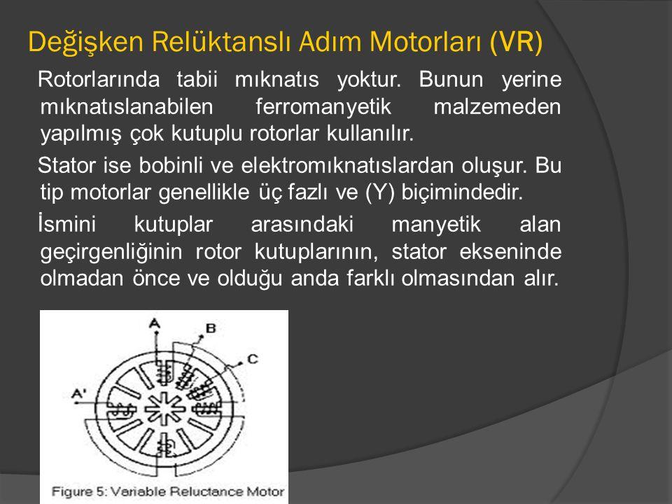 Değişken Relüktanslı Adım Motorları (VR)