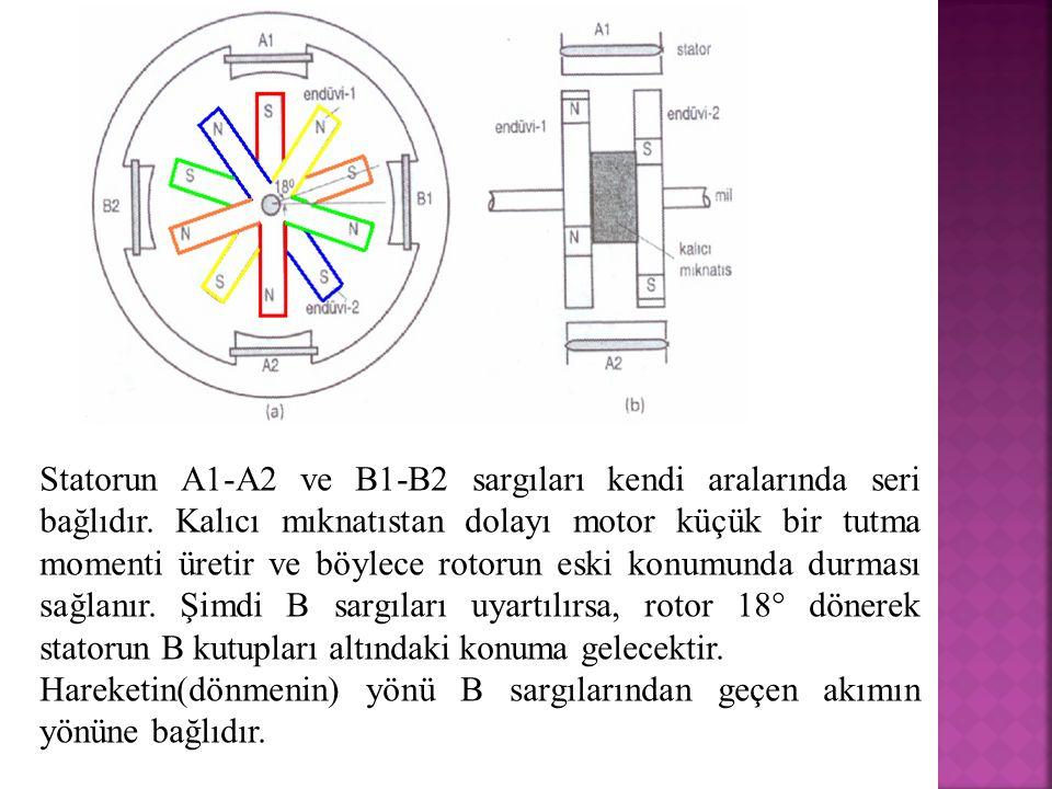 Statorun A1-A2 ve B1-B2 sargıları kendi aralarında seri bağlıdır