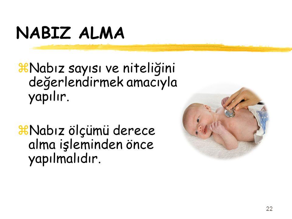 NABIZ ALMA Nabız sayısı ve niteliğini değerlendirmek amacıyla yapılır.