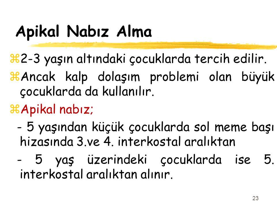 Apikal Nabız Alma 2-3 yaşın altındaki çocuklarda tercih edilir.