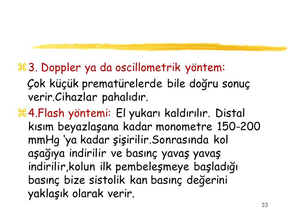 3. Doppler ya da oscillometrik yöntem: