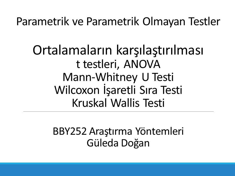 Parametrik ve Parametrik Olmayan Testler Ortalamaların karşılaştırılması t testleri, ANOVA Mann-Whitney U Testi Wilcoxon İşaretli Sıra Testi Kruskal Wallis Testi BBY252 Araştırma Yöntemleri Güleda Doğan
