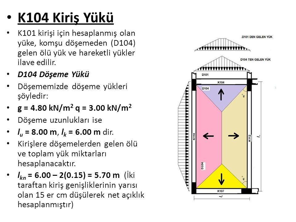 K104 Kiriş Yükü K101 kirişi için hesaplanmış olan yüke, komşu döşemeden (D104) gelen ölü yük ve hareketli yükler ilave edilir.