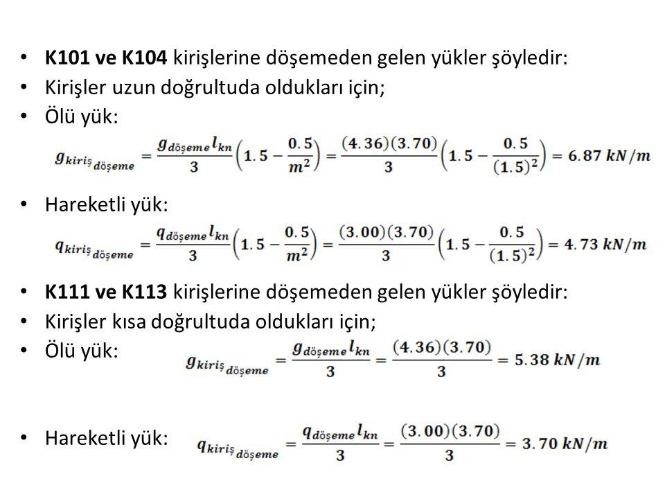 K101 ve K104 kirişlerine döşemeden gelen yükler şöyledir: