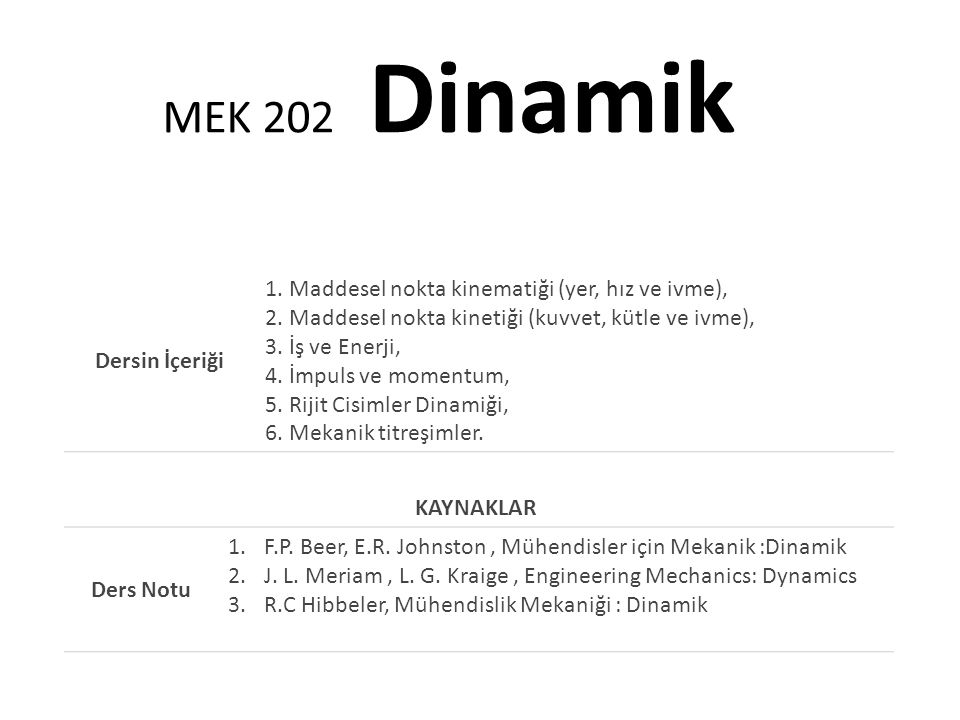 MEK 202 Dinamik Dersin İçeriği.
