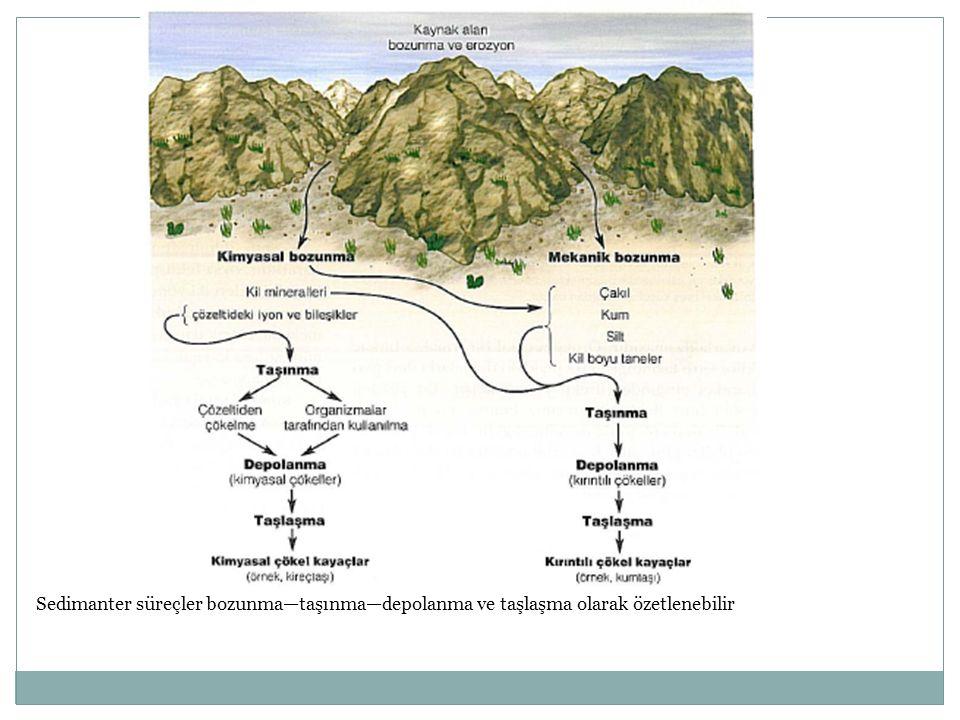Sedimanter süreçler bozunma—taşınma—depolanma ve taşlaşma olarak özetlenebilir
